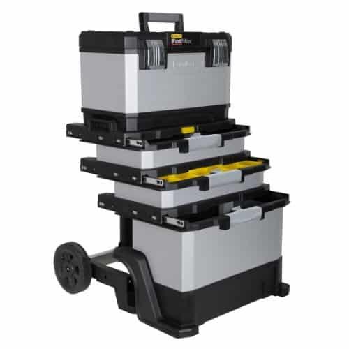 Stanley Fatmax 1-95-622 Rollende Werkstatt Metall-Kunststoff mit Rädern, abnehmbarer Werkzeugbox und herausnehmbarer Trage, 57 x 90 x 39cm