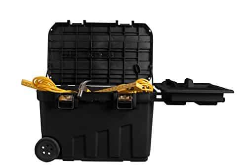 Stanley Mobile Montagebox / Werkzeugbox, 90 Liter mit herausziehbarem Handgriff und großen Vollgummirädern, 1-92-978